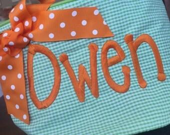Monogrammed Personalized Easter Basket - Polka Dot Chevron Ribbon