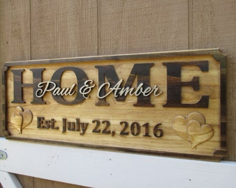 Personalized Family Name Signs Housewarming Gifts Established Sign Custom Decor Signs Carved Wood 3D Wedding Gift New House Gift Rustic Sign