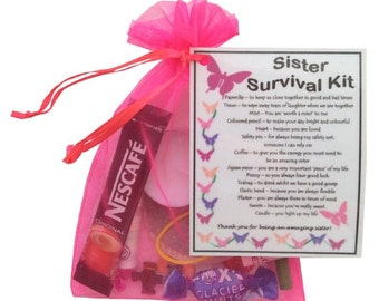 Sister Survival Kit - Great Sister Gift, Gifts for Sister Present, Gift Sister, Thank You Gift For Sister ... - Free UK Shipping