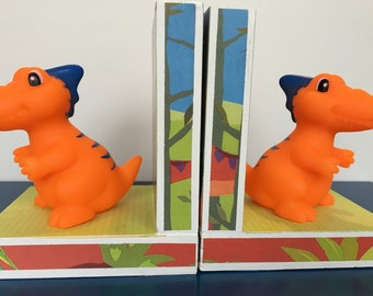 Bright and Cheerful Dinosaur Bookends Perfect for New Baby Nursery. Little Boy's room
