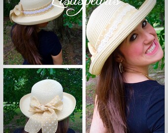 Ladies straw hat . Ribbon hat with pearls . Sun decorative hat . Very feminine girls sun hat . One size fits most