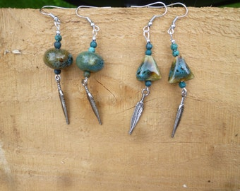 turquoisy ceramic with feather earrings
