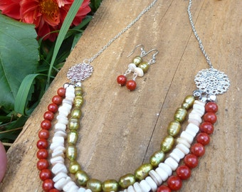 red sponge coral, cultured pearl, mother of pearl bib style multi strand necklace and earrings