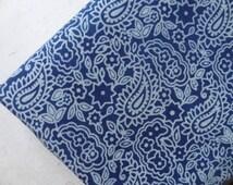 Paisley & floral Indigo Block print soft cotton - one yard 44''width Fabric By The Yard Supplies Quilt, Cushion, Pillow, Dress Tmb nov14