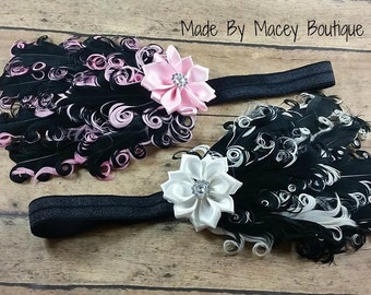 "Newborn Feather pad, Baby shower gift, Girls Feather pad headband 13"" elastic"