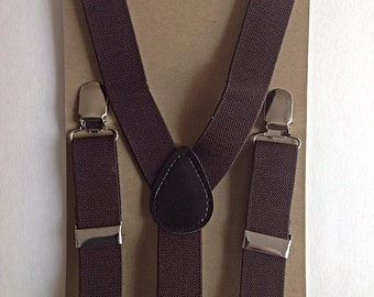 Baby/Kids Dark brown stretchy suspenders
