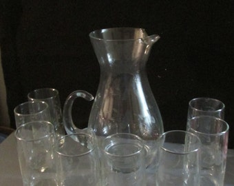 Vintage Princess House Pitcher & 8 Glasses  (front closet)