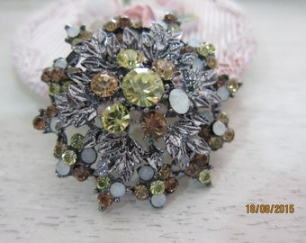 1pcs-Vintage Rhinestone Brooch/NEB81-Antique Vintage Brooch/Brooch/Bridal HeadPiece/ Accessories/