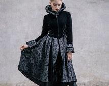 Gothic Witch Women Jacket Steampunk Carve Pattern Holloween Costume