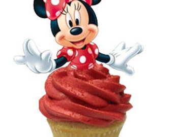 24 Minnie Mouse cupcake toppers