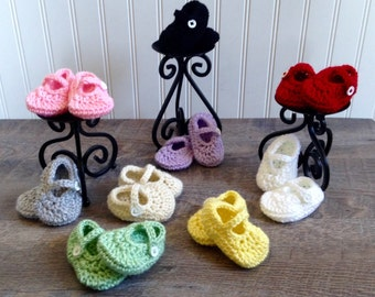Baby Girl Shoes, Newborn Crochet Baby Shoes, Baby Girl Crochet Mary Janes, Newborn Baby Shoes, Crochet Baby Booties, Handmade Baby Shoes