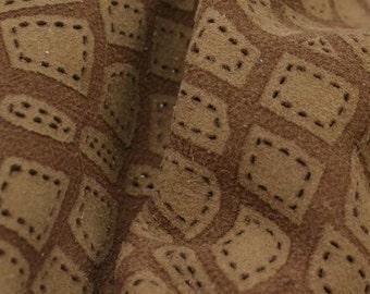 """Two-Tone Brown Laser Cut Turtle Leather Lamb Hide 12"""" x 12"""" Project Piece 2-3 ounces DE-43231 (Sec. 5,Shelf 4,D)"""