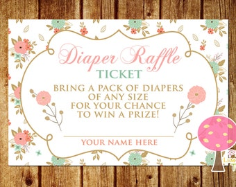 Diaper Raffle Tickets, Shabby Chic Baby Shower, Peach and Mint, Pink and Mint, Matching, INSTANT DOWNLOAD