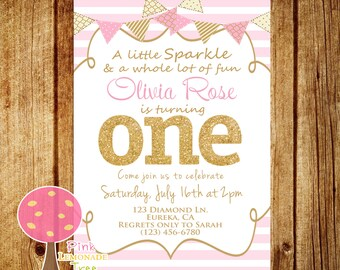 Pink and Gold First Birthday Party Invitation, Gold Glitter, One, Pink Stripes, Personalized, First Birthday, Sparkle, Pink and Mint