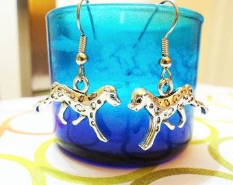 DALMATION DOG EARRINGS - surgical stainless steel ear wires - hypoallergenic, sensitive ears earring wires