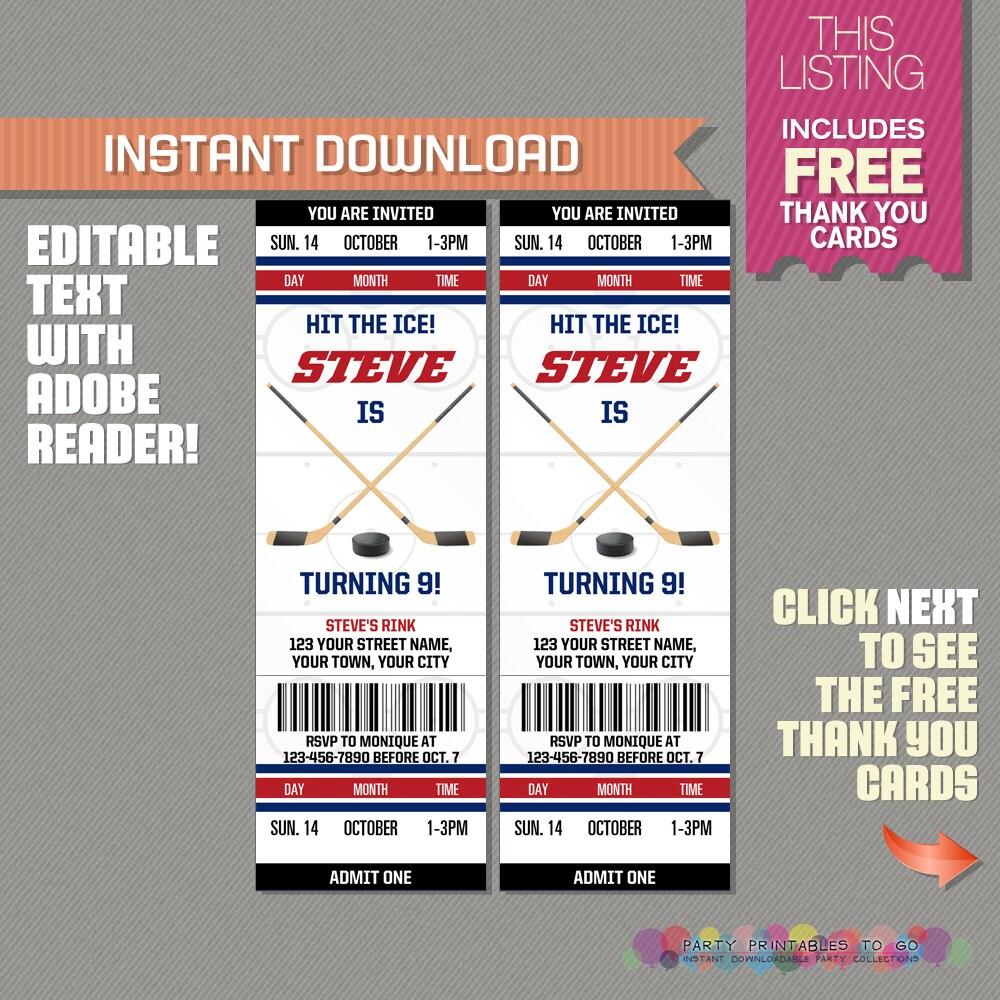 Ice Hockey Ticket Invitation with FREE Thank you Card Ice – Free Printable Ticket Invitations