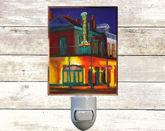 "Night Light, ""Tujagues"", New Orleans Icons,  Handmade, Copper Foiled"