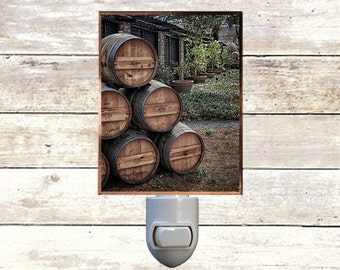 """Night Light, """"Barrels of Fun"""", Napa Valley Wine Country, Handmade, Copper Foiled"""