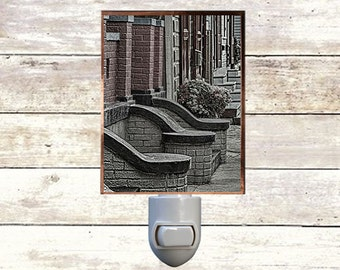 """Night Light, """"Stoops"""", New Orleans Architecture,  Handmade, Copper Foiled"""