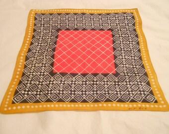 Vintage Handkerchief Signed Kit Ann Geometric Boho Hankie circa 1960's