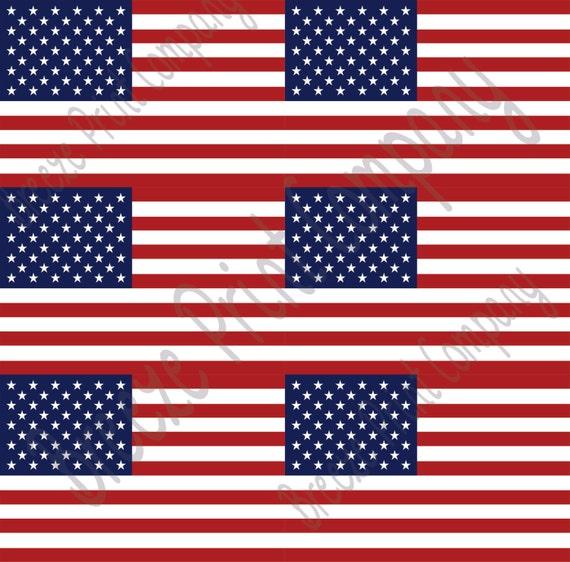 American Flag Print Heat Transfer Or Adhesive Vinyl Sheet