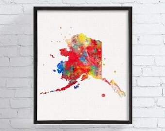 Alaska Art, Alaska State Map, Watercolor Map, Alaska Poster, Alaska Wall Decor, Alaska Native, Map Art, Travel Art, Housewarming Gift