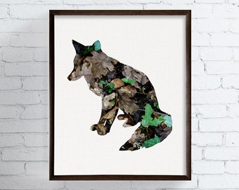 Fox Art Print - Fox Artwork - Fox Wall Art - Fox Silhouette - Woodland Animals - Woodland Nursery, Nature Art, Rustic, Forest, Cabin Decor