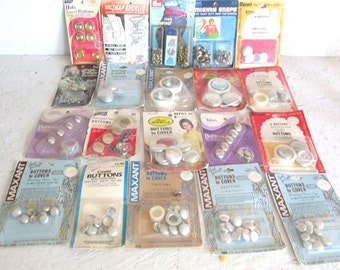 Vintage Lot 20 Packages Buttons to Cover ALL Sizes + Rivets and Snaps For Projects of All Sizes