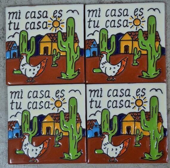 Talavera tiles hand painted mi casa es tu casa for Tu casa es mi casa online