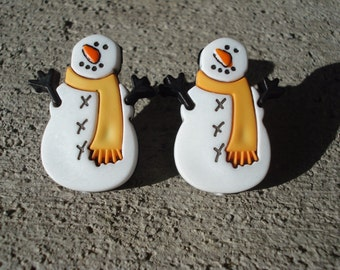 Snowman Earrings - Christmas Earrings - Snowman Post Earrings - Holiday Earrings - Snowman Jewelry