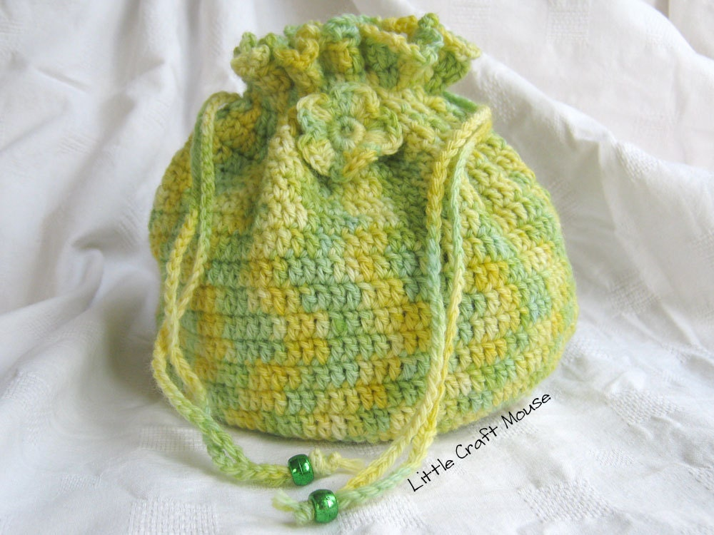 Easy Crochet String Bag Pattern : Drawstring Bag Crochet Pattern