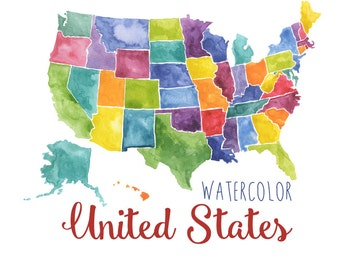 Watercolor United States Clipart, USA art, Watercolor USA, Map clip art, watercolor United states map, digital US download map art