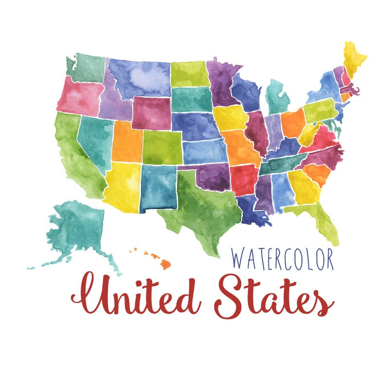 Watercolor United States Clipart USA Art Watercolor USA Map - Download us map clipart