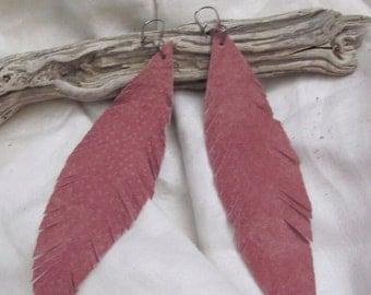 Earrings Beautiful Pink Leather Suede Feather Earrings (#18)