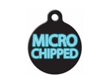 Microchipped Pet Engraved Pet ID Tag - Personalized Dog Tag- Micro Chipped Dog Tag
