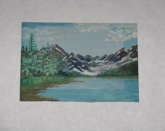 Vintage original oil painting on canvas board signed unframed lake mountainscape