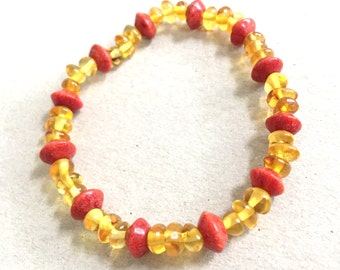 Amber bracelet with coral