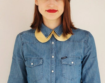 SALE -50% off, gold leather Peter Pan collar, womans leather collar, CollectionWN, ready to ship