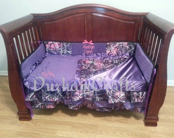 6pc muddy girl camouflage fabric with purple and pink ruffled - Hot pink and purple bedding ...