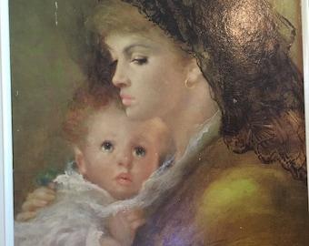 "Vintage ""Mother Love"" by Armando Gentilini Contemporary French Art Renaissance Art"