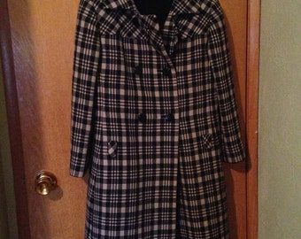 60s Mod Plaid Coat and Dress, Mad Men Clothing, Winter Coat Dress,  Designer Shift DRESS + COAT Set M