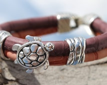 synthetic leather Bracelet with metal beads