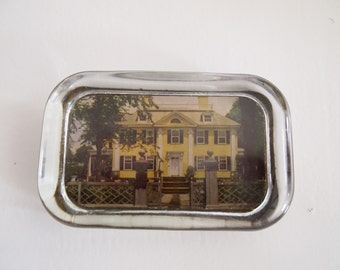 Vintage Photo Paperweight Yellow House