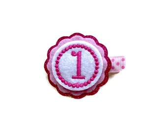 First Birthday ONE Hair Clip. Glittered Baby Girl Birthday Clip 1st Birthday Hair Clip
