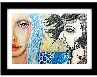 Figurative Portrait, female portrait, expressionist Painting, figurative artwork, house warming gift, Original artwork, acrylic canvas, art