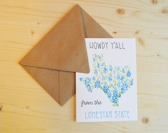 Texas Card- Lonestar State Card- State of Texas Card- Blue Bonnet Card- Howdy Y'All Card- Watercolor Card