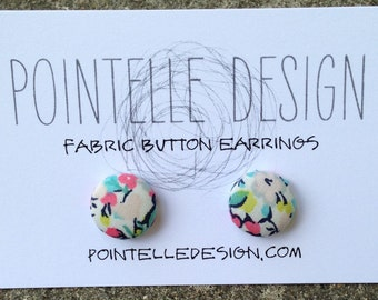 Liberty of London print floral print fabric covered button stud earrings stainless steel posts blue pink white
