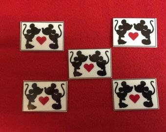 Set of 5 Kissing Mickey Minnie Resin