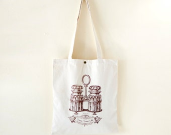 Cotton canvas Vintage Pattern Tote Bag---Taste Your Life (On Sale NOW!!!)