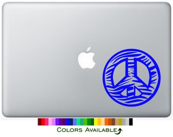 Zebra Peace Sign Outline Laptop Decal